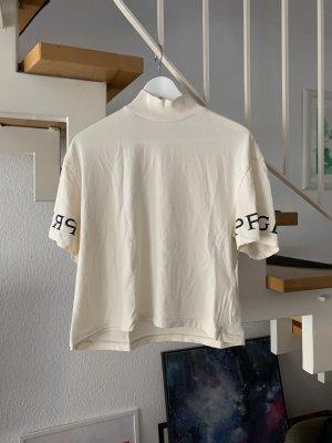 H&M T-shirt kremowy-czarny