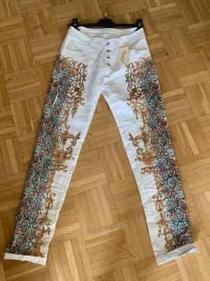 Print Italy Jeans/Baggy - White/Gold/Colour - Größe XL 40/42 - Tattoo Print