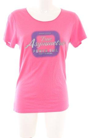 Code Zero Print-Shirt pink Schriftzug gedruckt Casual-Look