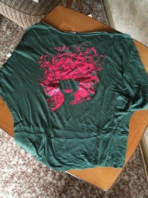 Print Shirt, oversized Shirt, GAS Printshirt, Grün-Pink