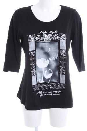 Shirt met print zwart-wit bloemenprint casual uitstraling