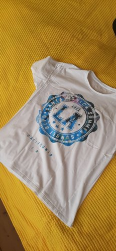 angelo litrico Print Shirt white-turquoise