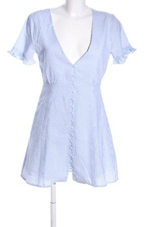 Privacy Please Blusenkleid weiß-blau Streifenmuster Casual-Look