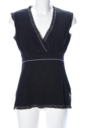 V-Ausschnitt-Shirt schwarz Casual-Look