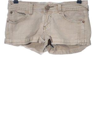 Private Garden Pantalón corto de tela vaquera crema Patrón de tejido