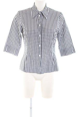 Private Label Shirt met korte mouwen wit-zwart geruite print zakelijke stijl