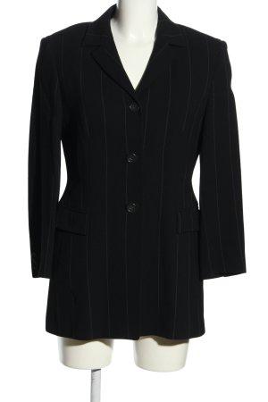Private Label Long-Blazer schwarz-wollweiß Streifenmuster Business-Look