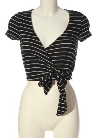 Project Social t Camisa recortada negro-blanco estampado a rayas look casual