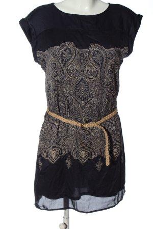 Promod Blusenkleid schwarz-creme abstraktes Muster Casual-Look