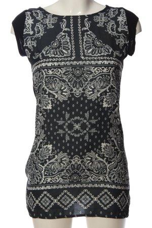 Promod ärmellose Bluse schwarz-weiß Mustermix Casual-Look