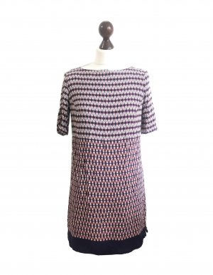 Promod Alloverprint Retro Kleid Gr. 36 seidig Sommer Viskose