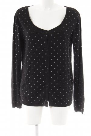 Promod Cardigan schwarz-silberfarben Punktemuster Casual-Look