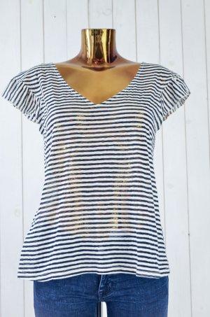 PROMOD Damen T-Shirt 2er Pack Blau Rot Weiß Gestreift V-Ausschnitt Flügel Gr.M