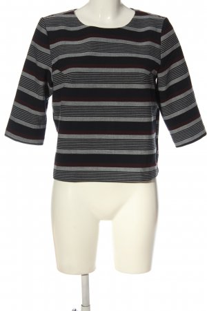 Promod Feinstrickpullover schwarz-weiß Streifenmuster Casual-Look