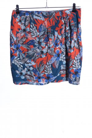 Promod Flared Skirt blue-red flower pattern casual look