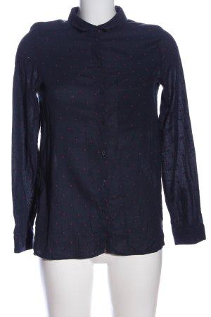 Promod Hemd-Bluse blau-rot Punktemuster Casual-Look