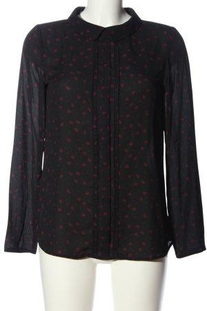 Promod Hemd-Bluse schwarz-pink Allover-Druck Casual-Look