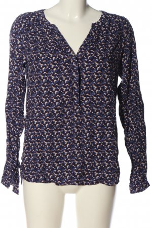Promod Hemd-Bluse blau-creme abstraktes Muster Business-Look