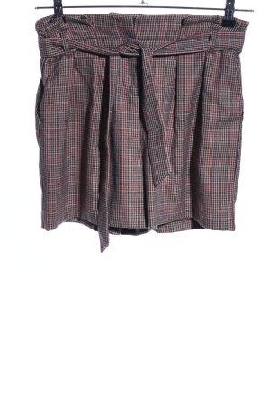 Promod High-Waist-Shorts braun-rot Karomuster Casual-Look