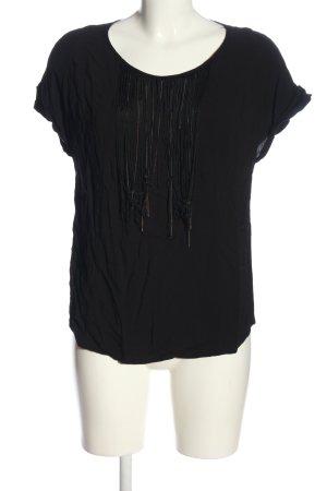 Promod Kurzarm-Bluse schwarz Casual-Look