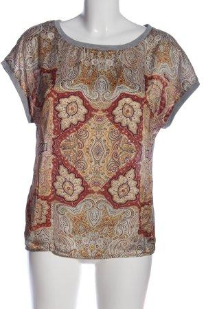 Promod Kurzarm-Bluse hellgrau-rot abstraktes Muster Casual-Look