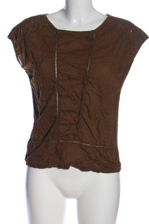 Promod Kurzarm-Bluse braun Casual-Look