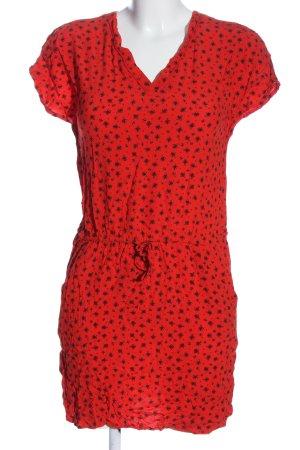 Promod Kurzarmkleid rot-schwarz Allover-Druck Casual-Look
