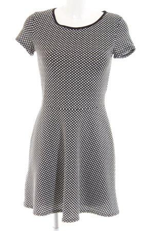 Promod Jurk met korte mouwen zwart-wit gestippeld patroon casual uitstraling