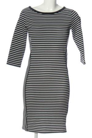 Promod Vestido de manga corta negro-blanco estampado a rayas look casual