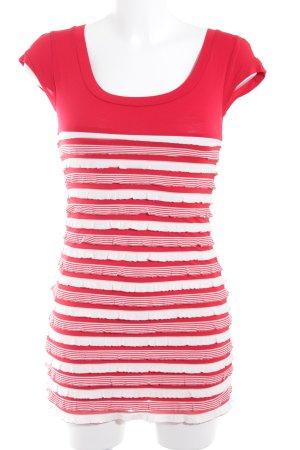 Promod Jurk met korte mouwen wit-rood gestreept patroon romantische stijl
