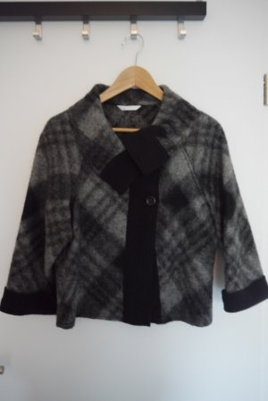 Promod Kurzjacke Blazer Cape grau schwarz Muster Karo Gr. 36 NEU