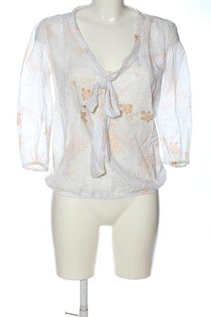Promod Langarm-Bluse weiß-nude Blumenmuster Casual-Look