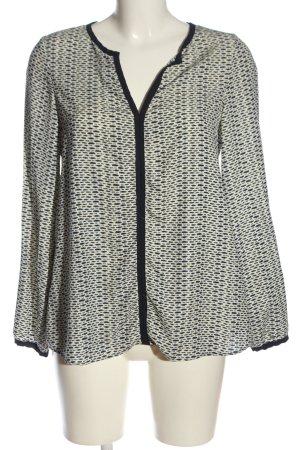 Promod Langarm-Bluse wollweiß-schwarz abstraktes Muster Casual-Look