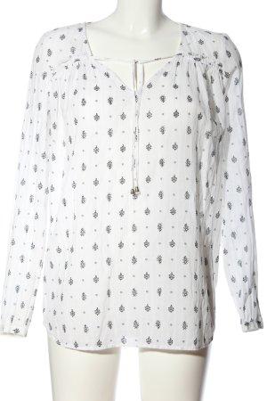Promod Langarm-Bluse weiß-schwarz Allover-Druck Casual-Look