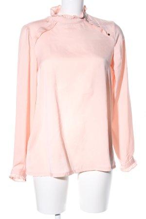 Promod Langarm-Bluse pink-creme Business-Look