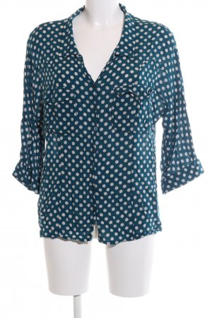 Promod Langarm-Bluse blau-weiß Punktemuster Business-Look
