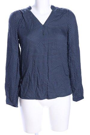 Promod Langarm-Bluse blau Allover-Druck Casual-Look