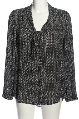 Promod Langarm-Bluse schwarz-weiß Allover-Druck Business-Look