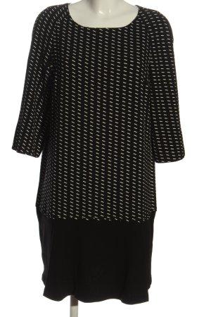 Promod Langarmkleid schwarz-wollweiß grafisches Muster Casual-Look