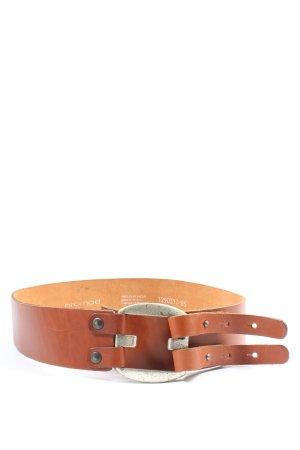 Promod Cinturón de cuero marrón look casual