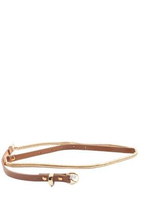 Promod Cinturón de cuero de imitación marrón-color oro look casual