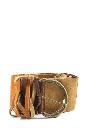 Promod Cinturón de cuero de imitación naranja claro-marrón look casual