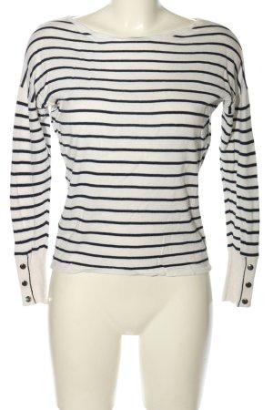 Promod Longsleeve weiß-schwarz Streifenmuster Casual-Look