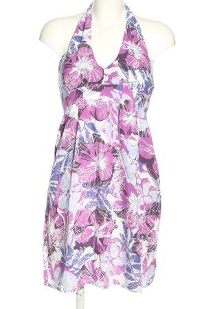 Promod Robe dos-nu violet-blanc cassé imprimé allover style décontracté