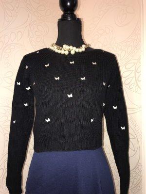 Promod Pull tricoté noir-blanc coton