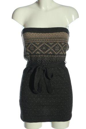 Promod Pulloverkleid hellgrau-wollweiß grafisches Muster Casual-Look