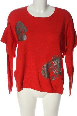 Promod Rundhalspullover rot-silberfarben Motivdruck Casual-Look