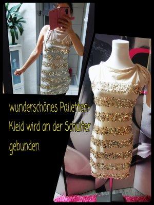 Promod ♥ Schickes Pailettenkleid zum Binden, in creme-gold Gr. 34 XS