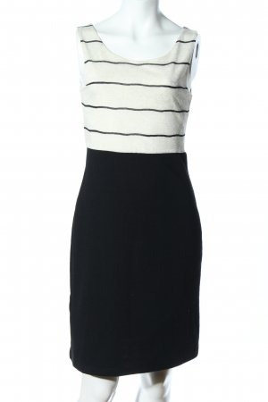 Promod Vestido de tubo negro-blanco puro estampado a rayas estilo «business»