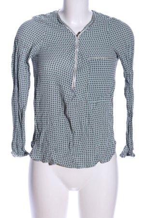 Promod Schlupf-Bluse grün-schwarz abstraktes Muster Casual-Look